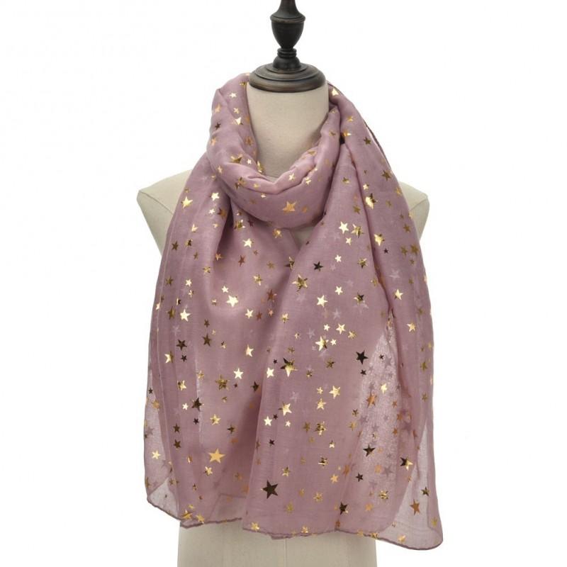 Echarpe légère étoiles rose mauve