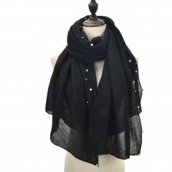 Echarpe plissé soleil et perles noir
