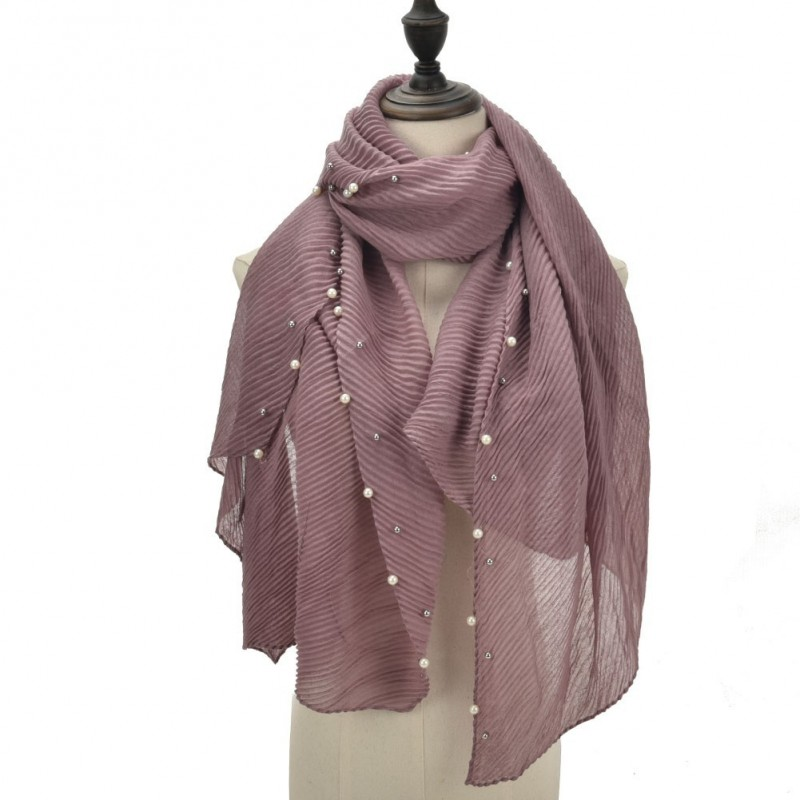 Echarpe plissé soleil et perles rose mauve