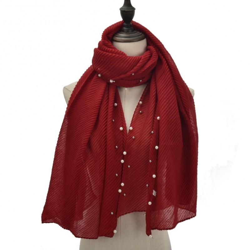 Echarpe plissé soleil et perles rouge