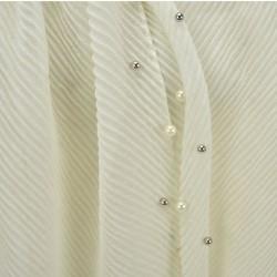 Echarpe plissé soleil et perles ivoire