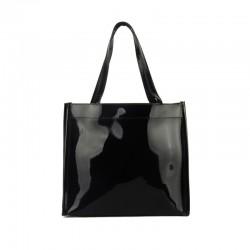 Sac shopping chic noir et noeud ivoire