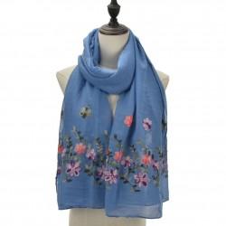 Etole légère voile bleu brodé fleurs
