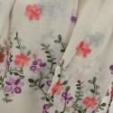 Etole légère voile ivoire beige brodé fleurs