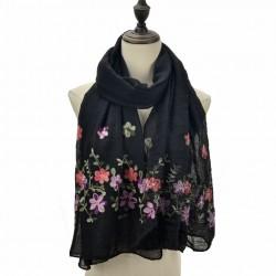 Etole légère voile noir brodé fleurs