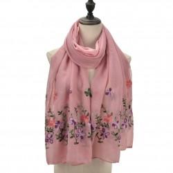 Etole légère voile rose brodé fleurs