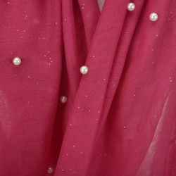 Etole légère perles et paillettes rose fuchsia