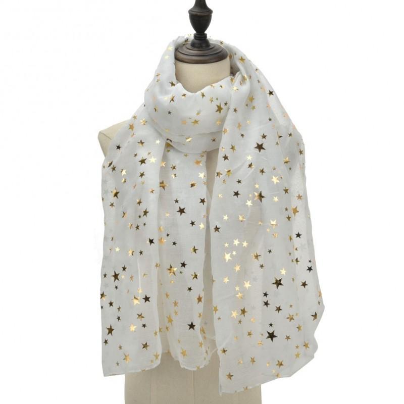 Echarpe légère étoiles blanche