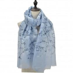 Etole imprimée ramages fleuris bleu ciel