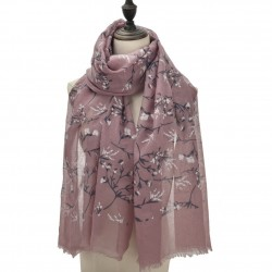 Etole imprimée ramages fleuris rose mauve