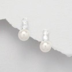 Boucles d'oreilles perles blanche et cristal