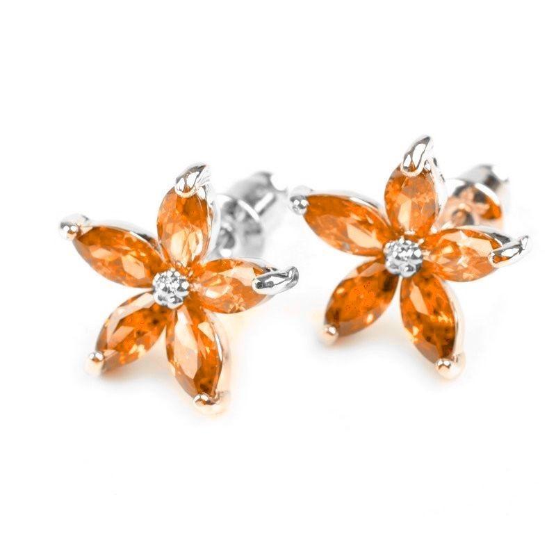 Boucles d oreilles fleurs cristal mandarine