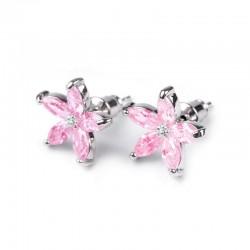Boucles d oreilles fleurs cristal rose