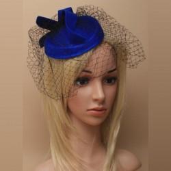 Bibi chapeau de mariage bleu avec voilette