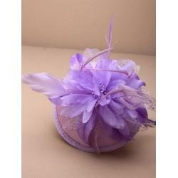 Bibi chapeau mariage mauve lilas