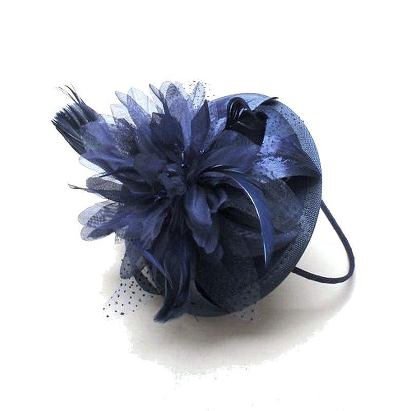 Bibi chapeau de mariage bleu marine
