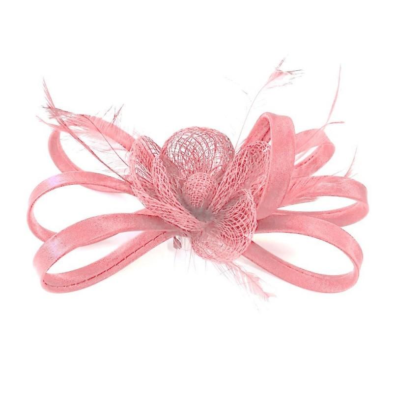 Chapeau de ceremonie en sisal rose