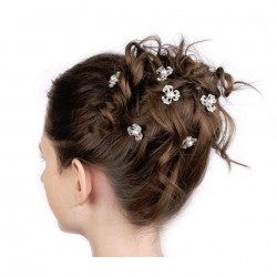 6 épingles cheveux cristal et perles nacrées