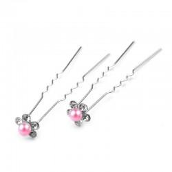 6 épingles cheveux fleurs perles cristal rose fushia