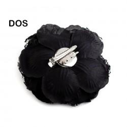 Grosse fleur tissu satin 75mm broche ou cheveux
