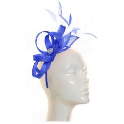 Chapeau mariage Bibi mariage bleu roi sisal et plumes