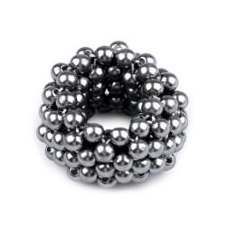 Elastique à cheveux avec perles gris argent
