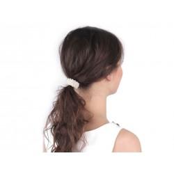 Elastique à cheveux avec perles blanches