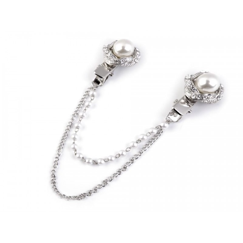 Double clip broche strass et perles