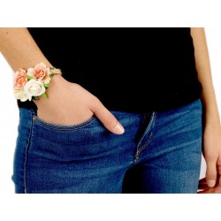 Bracelet champêtre corde et fleurs