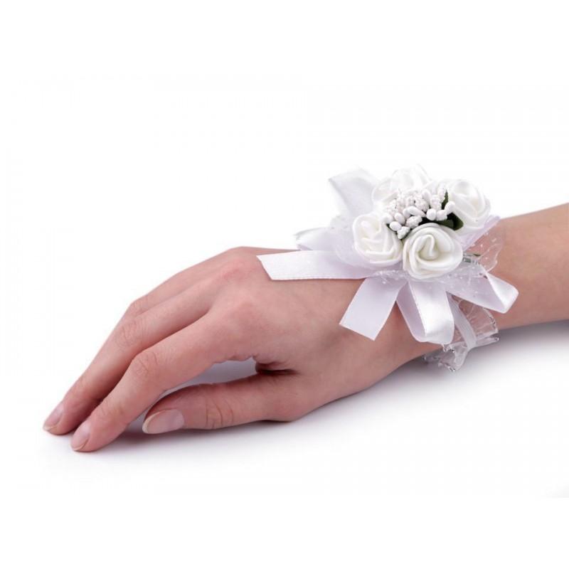 Bracelet élastiqué en satin et organza avec fleurs / blanc, ivoire / mariage champêtre, naturel, romantique