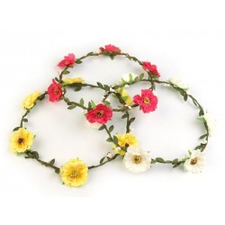 Couronne de fleurs roses fuchsia / Mariage champêtre, naturel, romantique, vintage