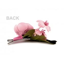 Pince cheveux ornée de fleurs roses