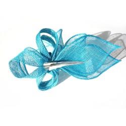 Accessoire coiffure en sisal bleu turquoise