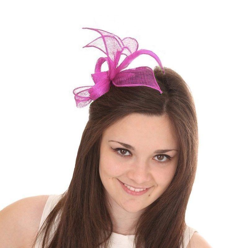 Accessoire coiffure en sisal rose fushia