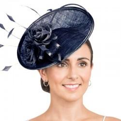 Chapeau de cérémonie fleur bleu marine