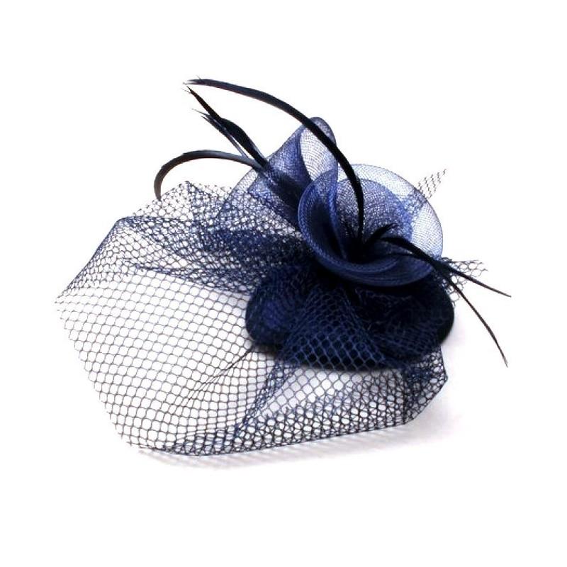 Chapeau mariage Bibi de mariage en tulle et plumes bleu marine