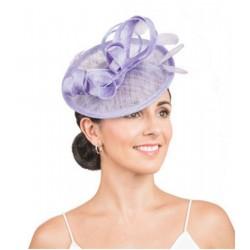 Accessoire de coiffure sisal et plumes violet