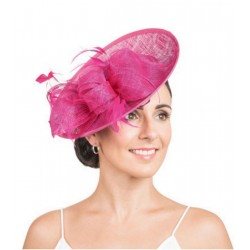 Chapeau de mariage noeud et plumes rose fuchsia