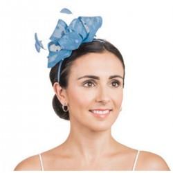 Bibi mariage noeud perles et plumes bleu