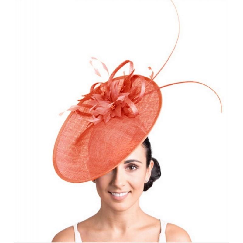 Chapeau de mariage fleur orange corail