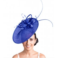 Chapeau de mariage fleur bleu royal