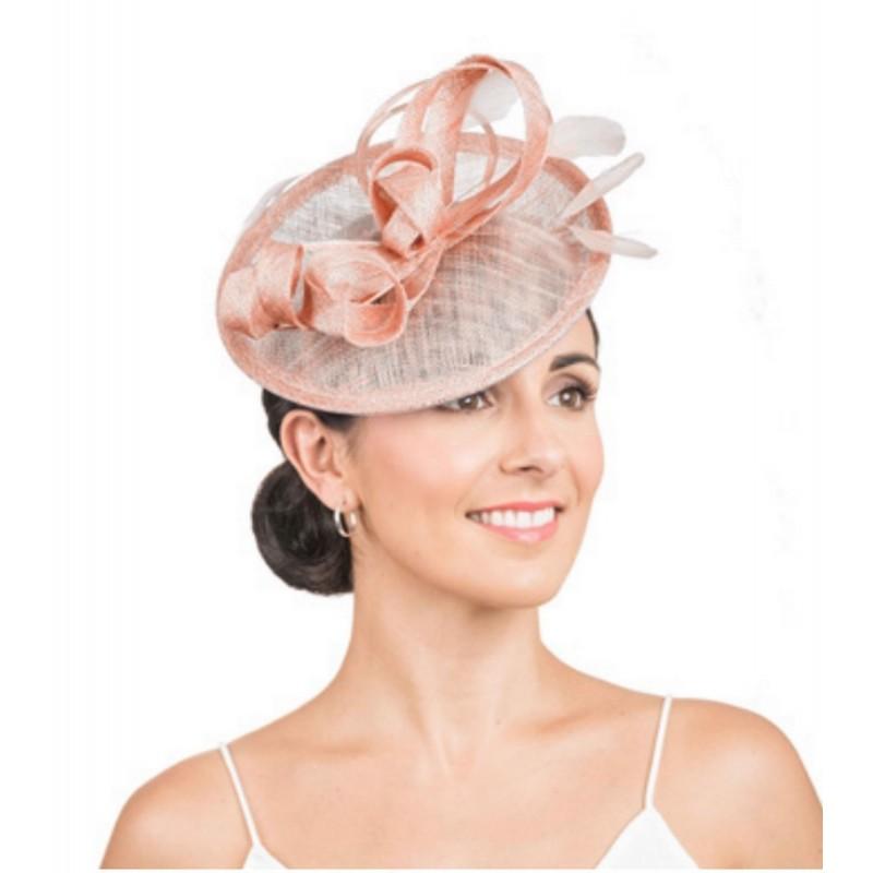 Accessoire de coiffure sisal et plumes rose peche