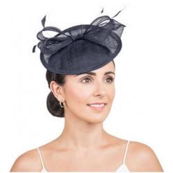 Chapeau de mariage noeud et plumes noir