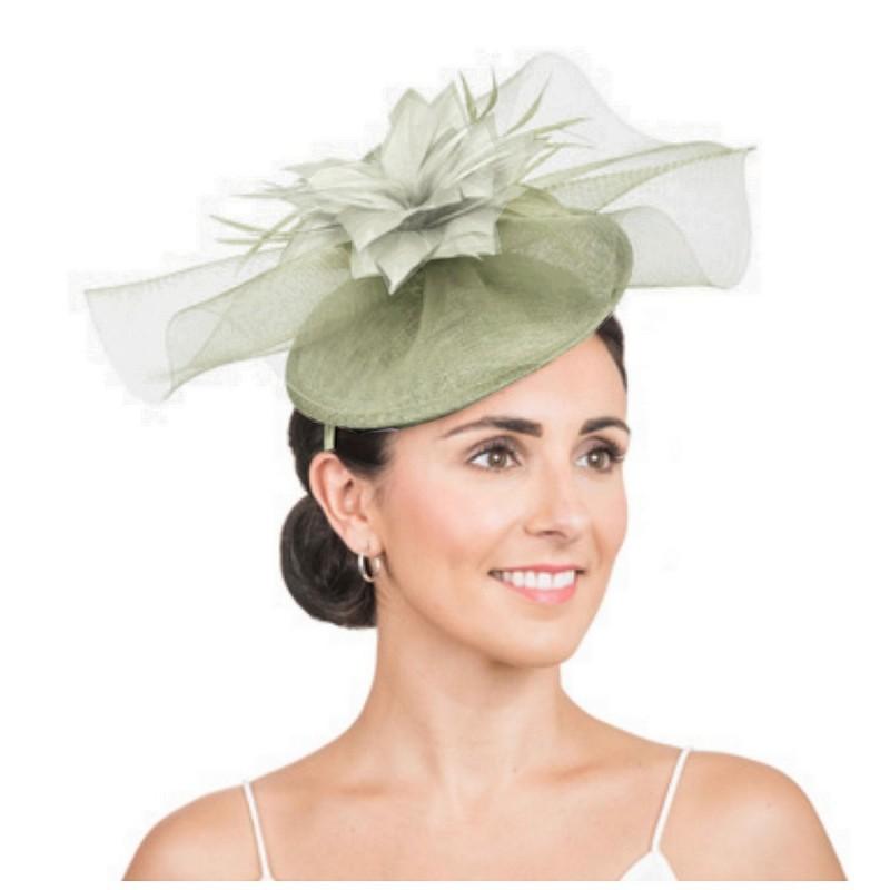 Bibi de mariage voilette et fleur vert lichen kaki