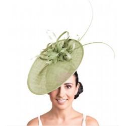 Chapeau de mariage fleur vert anis