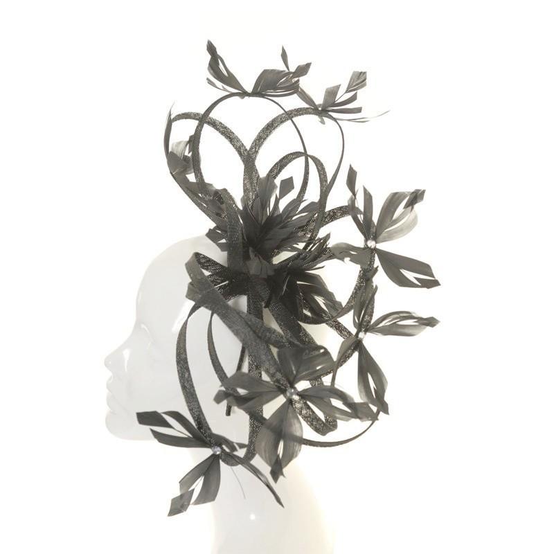 Chapeau mariage gris anthracite original