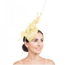 Bibi de cérémonie fleurs et plumes jaune citron