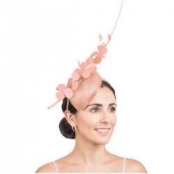 Bibi de cérémonie fleurs et plumes rose peche