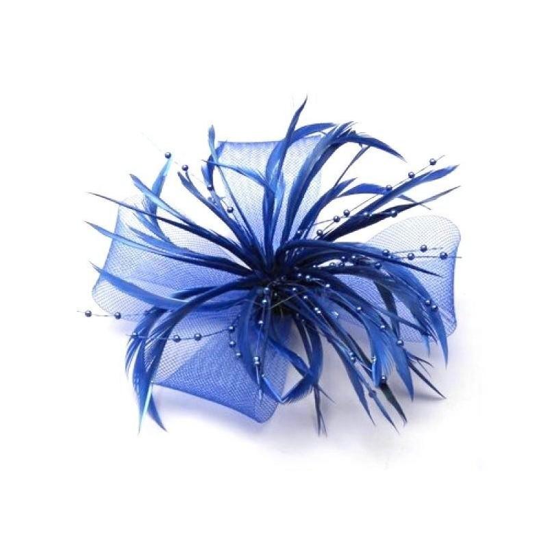 Chapeau mariage Bibi de mariage en tulle et plumes bleu vif