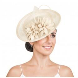 bibi chapeau mariage avec fleurs champagne